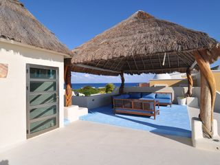 Isla Mujeres villa photo - private upstairs-unobstructed views Caribbean Ocean Sunrise & Bay Sunset