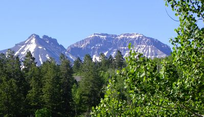 Summer view of San Juan Mtns from cabin deck