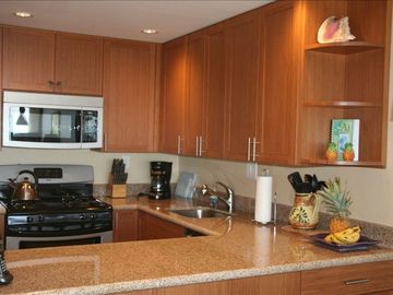 New bamboo cupboards and new appliances incl. ice maker and quiet dishwasher.