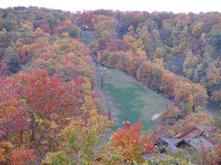 Fall colors on ski slope, as seen from balcony (zoomed photo) - Gatlinburg condo vacation rental photo