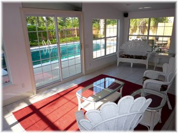Private Sunroom overlooks the Swimming Pool & Sundeck, 3 Walls of Glass + TV