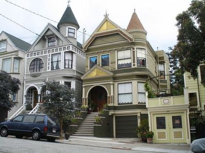 The neighborhood has beautiful Victorian architecture in all directions.