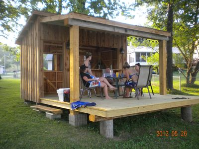 Tiki hut in action, just erected down by the water.