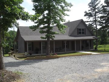 Greers Ferry Lake house rental - front of house. easy to get in. deck wraps around to the back deck