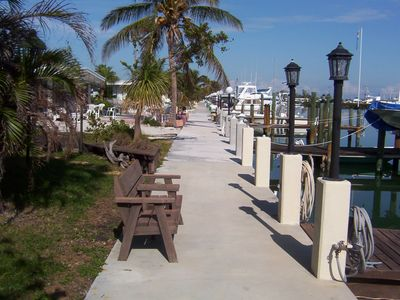 Common walkway on dock. Take Romantic walks at night along lighted docks.