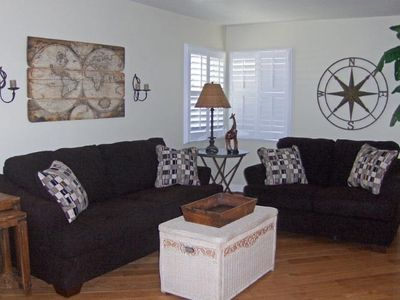 Light and Bright Living Room with Queen Pull Out Sofa