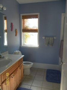 Periwinkle bath...same spacious layout for private bath in each bedroom.