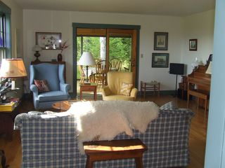 St Johnsbury house photo - Living Room, view to Sun room. Piano included.