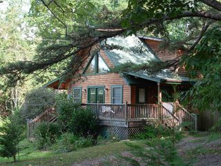 Pet friendly log cabin with hot tub homeaway asheville for Asheville nc cabins rentals