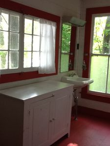 Red bathroom on the second floor.