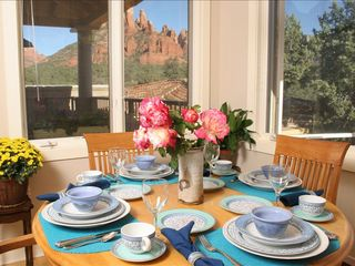 Sedona condo photo - Dining nook with stunning red rock views and adjacent private deck & bbq