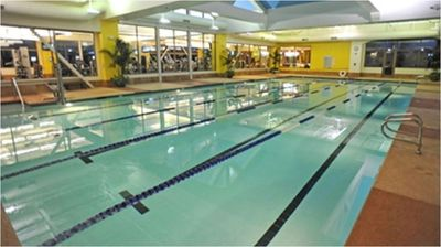 Indoor lap pool in fitness center.