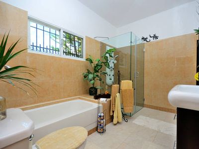 NEWLY TILED SHARED BATHROOM WITH PRESSURE SHOWER