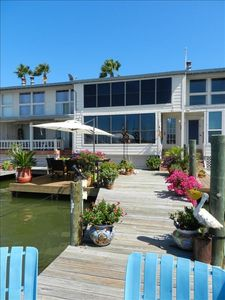 View of condo from end of dock