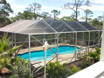 St George Island house rental - Private, Jetted Pool... Can be heated for a fee... View From Lower Porch.