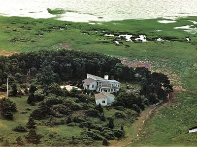 We are on our own peninsula in Cape Cod Bay. Guest house is closest to camera.