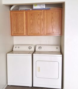 Washer, Dryer, w/laundry supplies