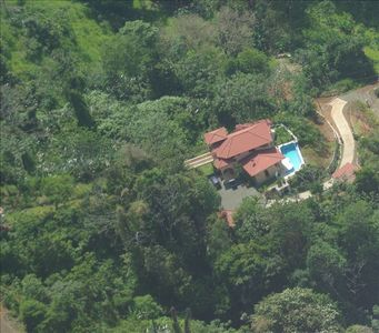 Aerial view of Tucan Tango looking east. Gardens and rain forest ensure privacy
