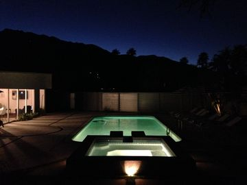 Palm Springs house rental - Twinkle lights on the mountain are of the PS tram.