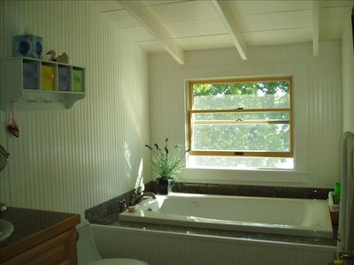 Jacuzzi tub with lakeview upstairs by bedrooms