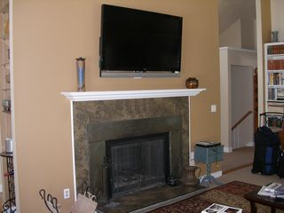 Vineyard Haven house photo - Fireplace in Living Room with Big Screen TV