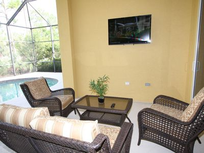 "Screened in patio with 47"" hd tv"