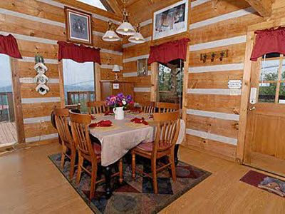 Pigeon Forge cabin rental - enjoy the beautiful mountain views while dining in