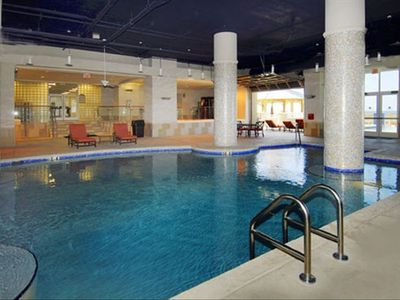 Heated Indoor Pool with Whirlpool, Spa, Wet Sauna and Fitness Room Behind