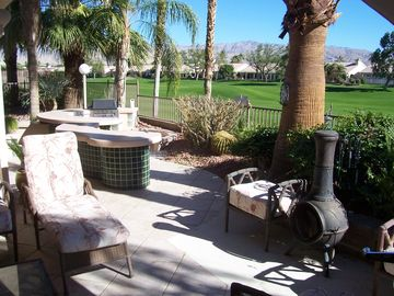 Bermuda Dunes house rental - Patio BBQ,fire place,fencing with Golf Course and Mountain views-tile floors