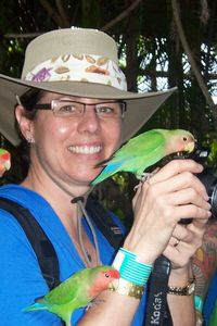 I'm in the Love Bird Aviary at Ocean World.
