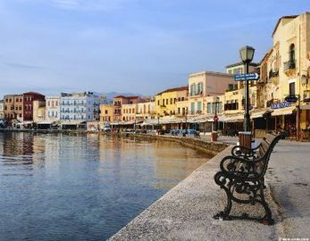 The Venetian harbor in Hania old town.