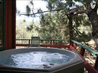 Moonridge cabin photo - Relax under the stars in the outdoor hot tub