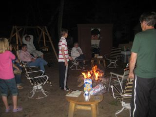 Pentwater cabin photo - Making memories around the firepit with lots of seating for everyone