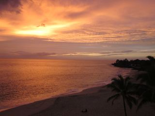 Makaha condo photo - A golden Sunset from the Lanai
