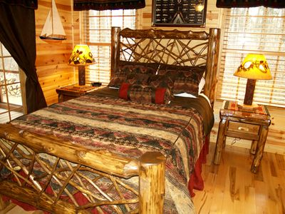 Newly upgraded cedar twig log bed by Fireside Lodge Furnishings.