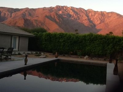 Palm Springs house rental - Stunning views of mountains reflected in gorgeous 35 x 15 pool