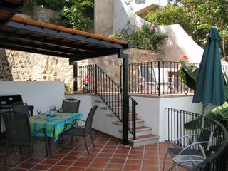 Puerto Vallarta condo photo - Alegria's 2-Level Patio with Outdoor Dining & Weber Grill