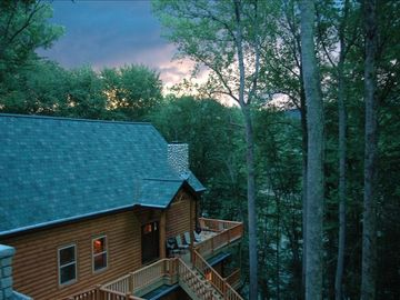 Lake Nantahala lodge rental - exterior of house at sunset