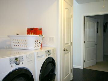 Full size washer & dryer inside house w/ complimentary soap for max convenience.