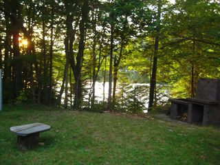 Saint-Sauveur cabin photo - Outdoor fireplace. Perfect place to watch a sunset.