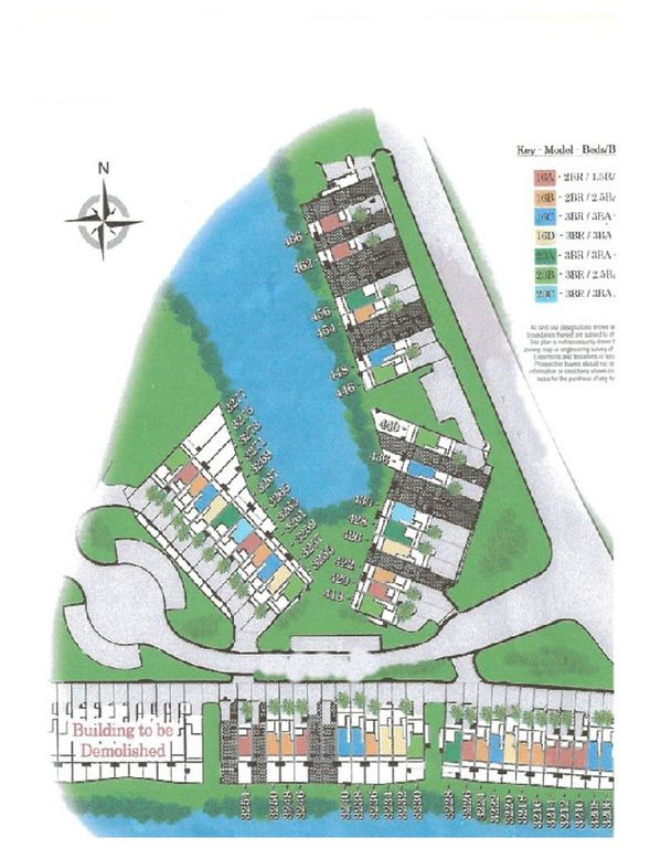 Drawing of locations of the waterfront town houses