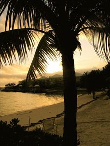 Great Exuma villa rental - sunset on the beach across the street