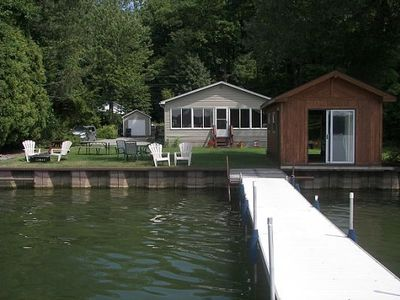 Cottage and boat house from the dock