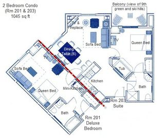 Floorplan of 2 bedroom condo