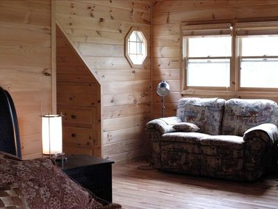 upstairs master loft suite with reading nook, from edge of sleigh bed