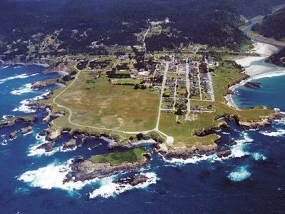 Mendocino village perched on the Pacific Ocean from the air