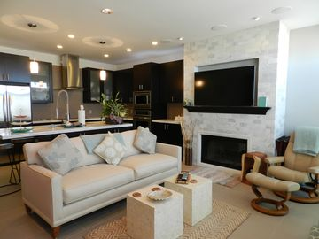 Pajaro Dunes condo rental - Spacious living room, kitchen and eating area