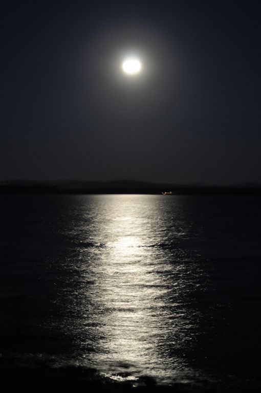 Beautiful reflection of the moon off Lake Champlain!!