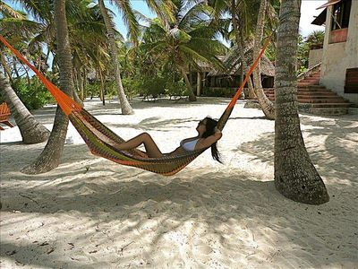 "Relaxing out front of the house in the  Coconut ""siesta"" lounge"