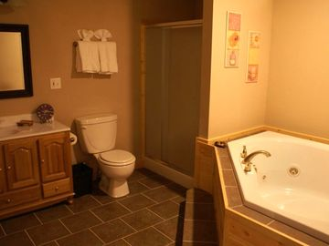One of the two roomy spa bathrooms with it's Jacuzzi tub.